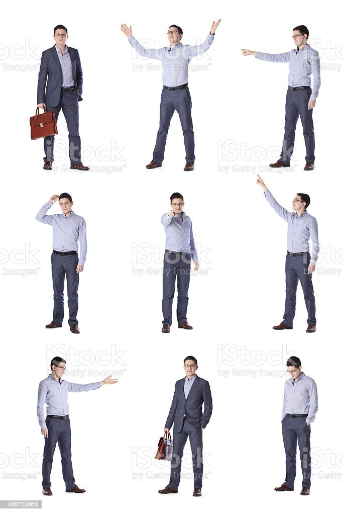 set of images of a young man in office clothes stock photo