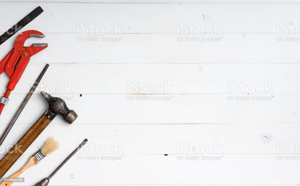 set of instruments with text space stock photo
