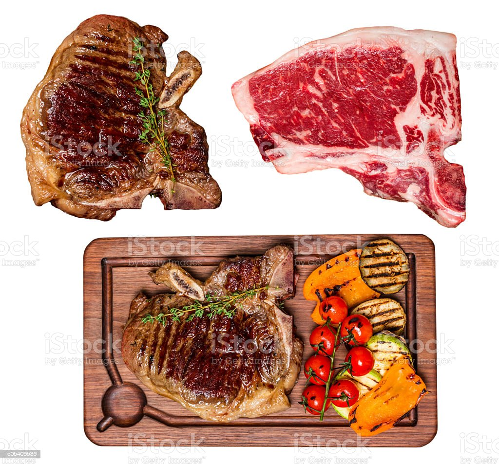 Set of isolated Club Beef steak stock photo