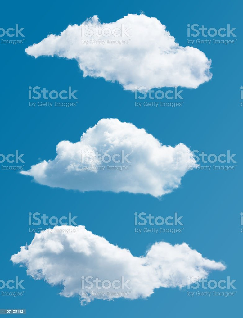 set of isolated picturesque clouds stock photo
