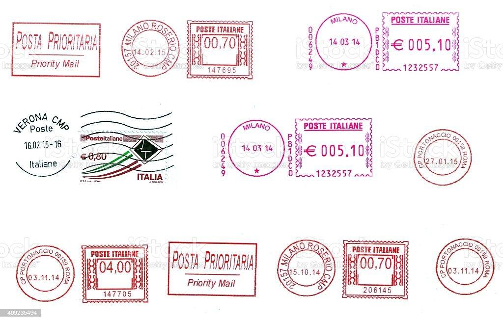 set of  italian postmarks stock photo