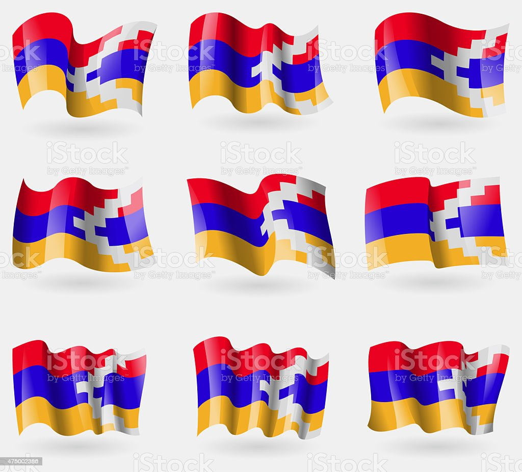 Set of Karabakh Republic flags in the air. vector art illustration