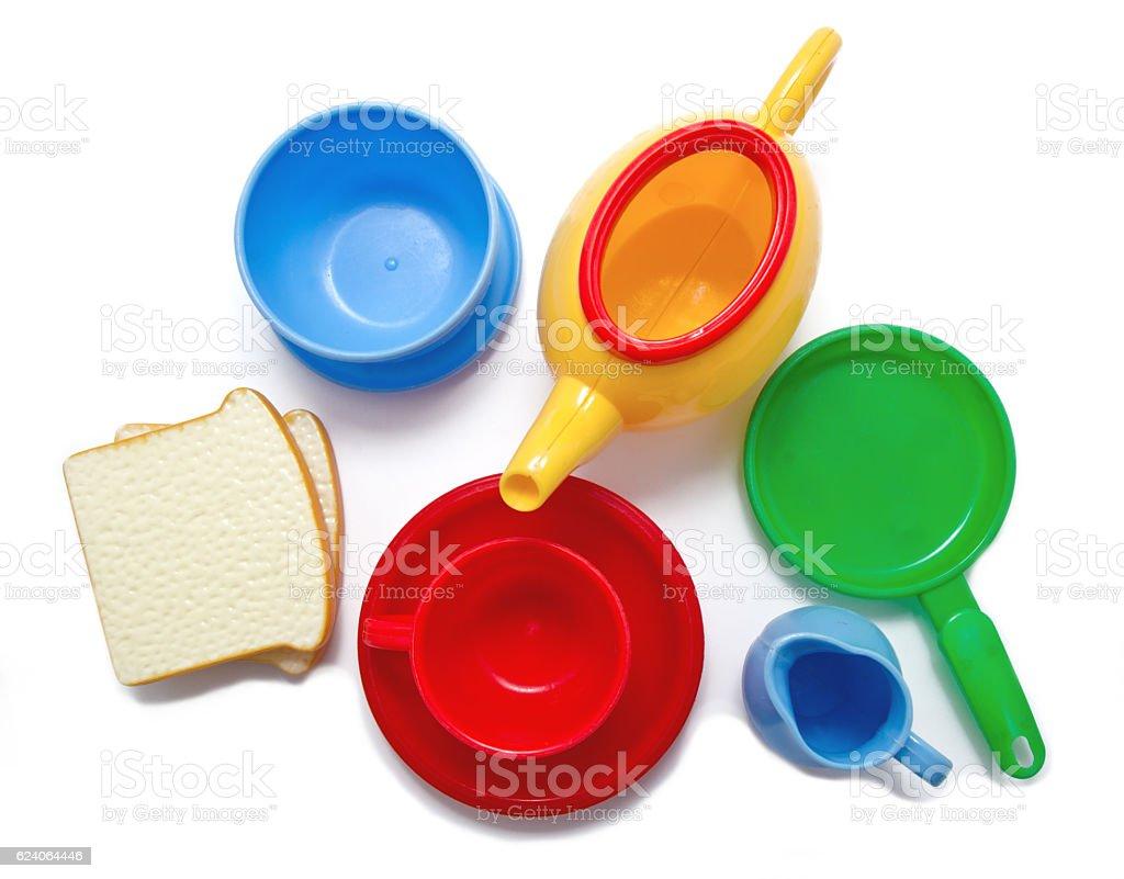Set of kids dishes isolated on white stock photo