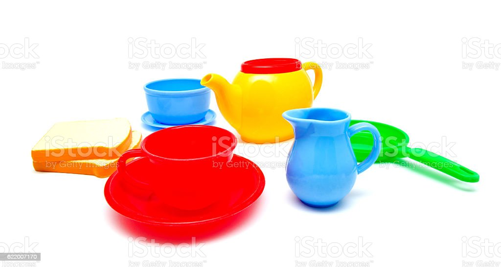 Set of kids dishes stock photo