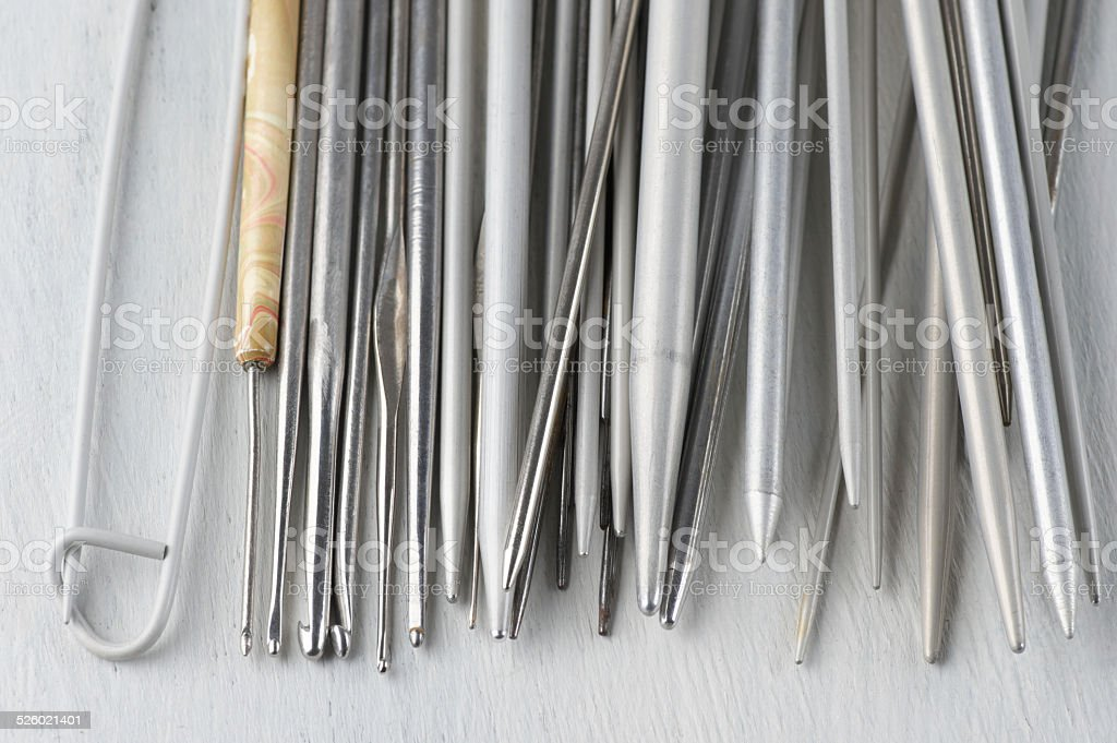 Set of knitting equipment stock photo