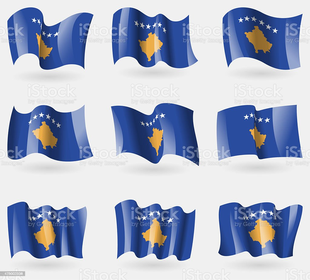 Set of Kosovo flags in the air. stock photo