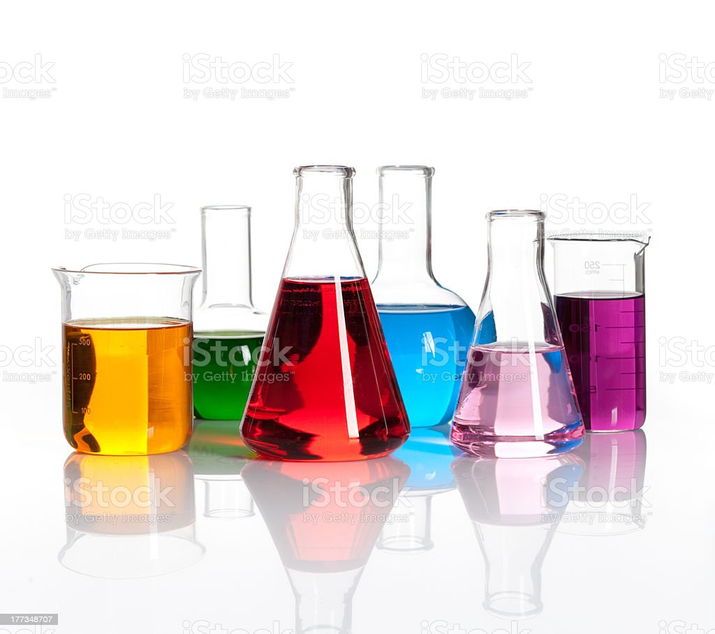 Set of laboratory flasks with a colored liqiuds stock photo