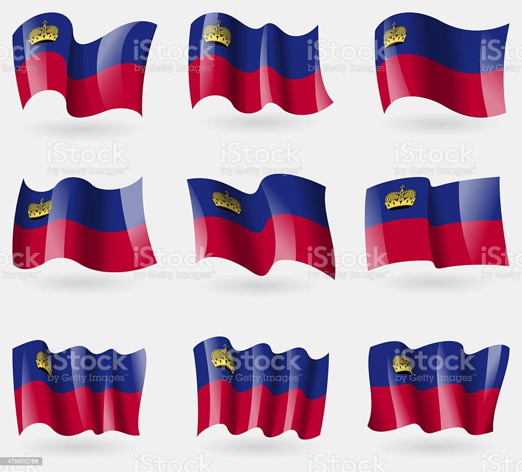 Set of Liechtenstein flags in the air. stock photo