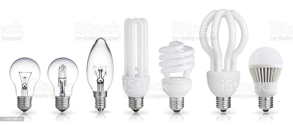 set of light bulbs stock photo