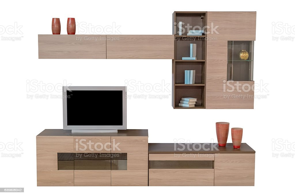 set of living room furniture isolated on white background stock photo