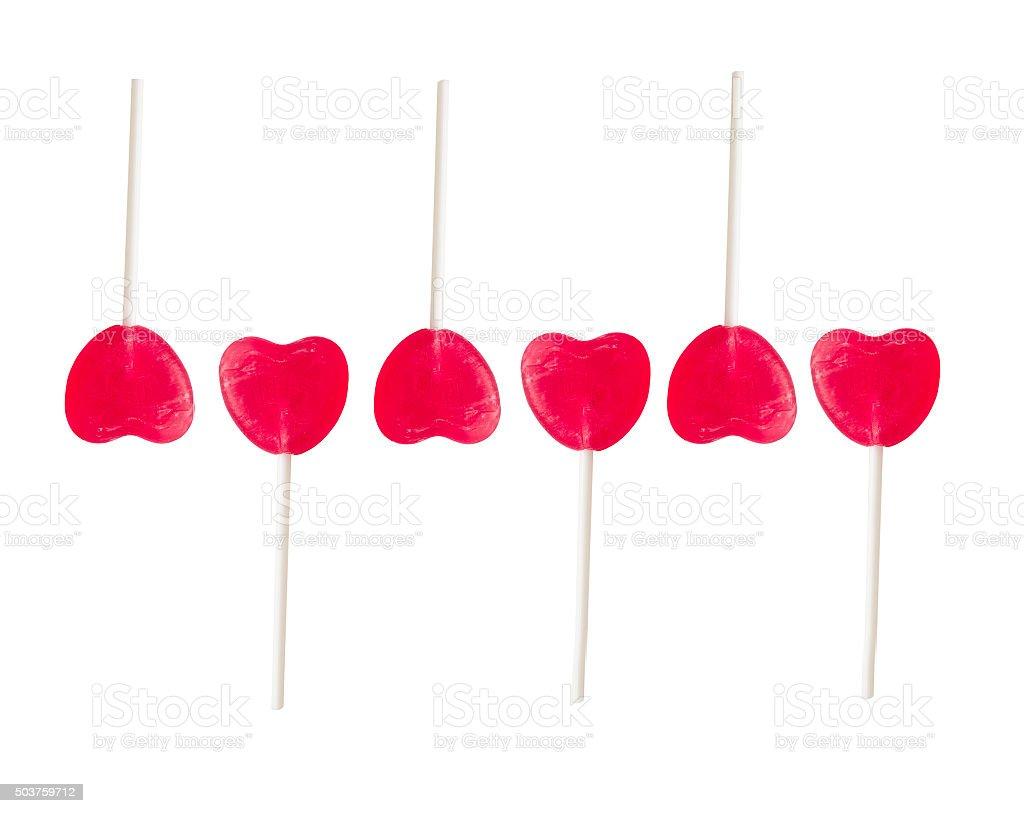 set of lollipops in heart shape stock photo