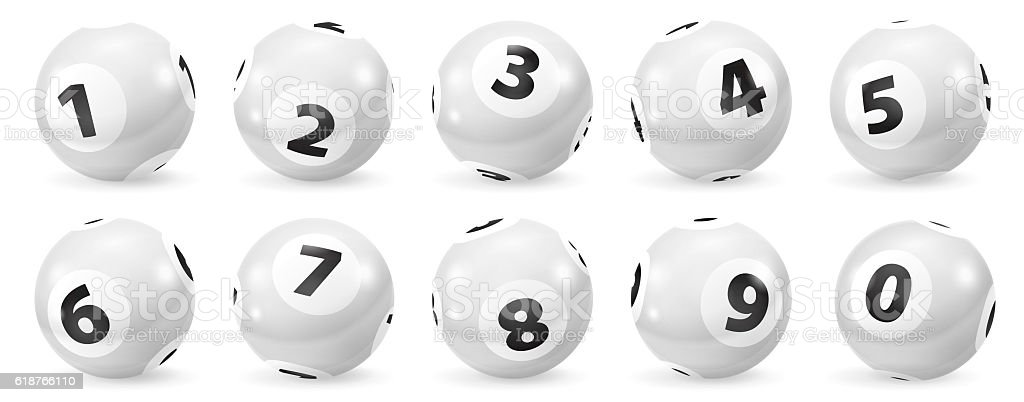 Set of Lottery Black and White Number Balls 0-9 stock photo