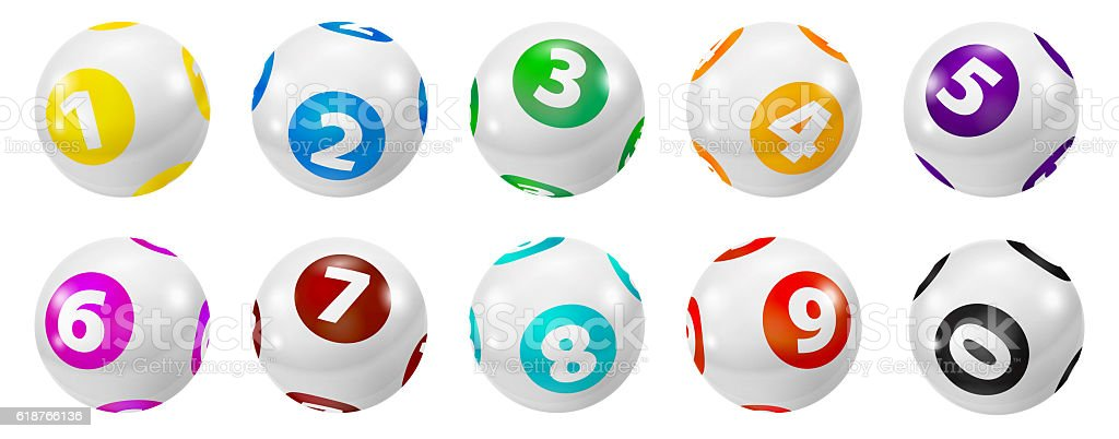 Set of Lottery Colored Number Balls 0-9 stock photo