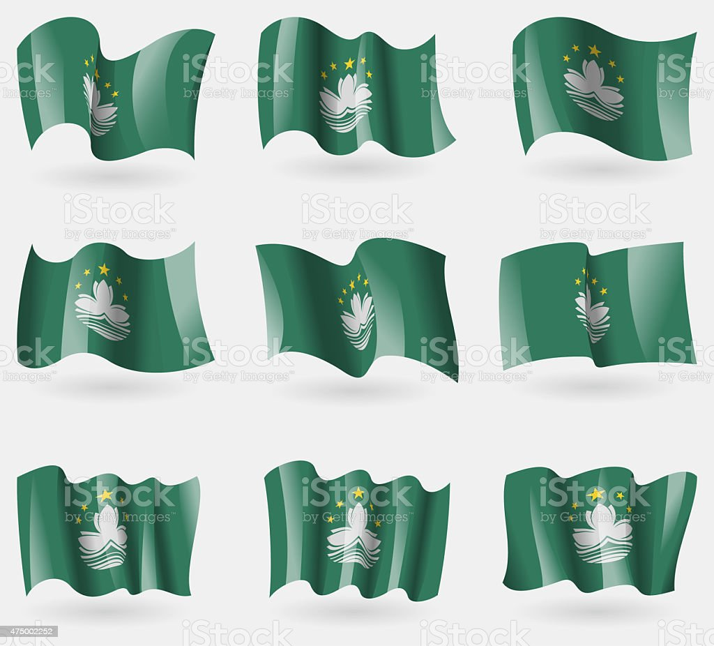 Set of Macau flags in the air. stock photo