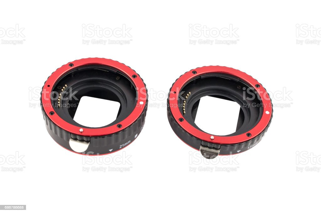Set of macro rings for SLR cameras on a white background isolated. stock photo