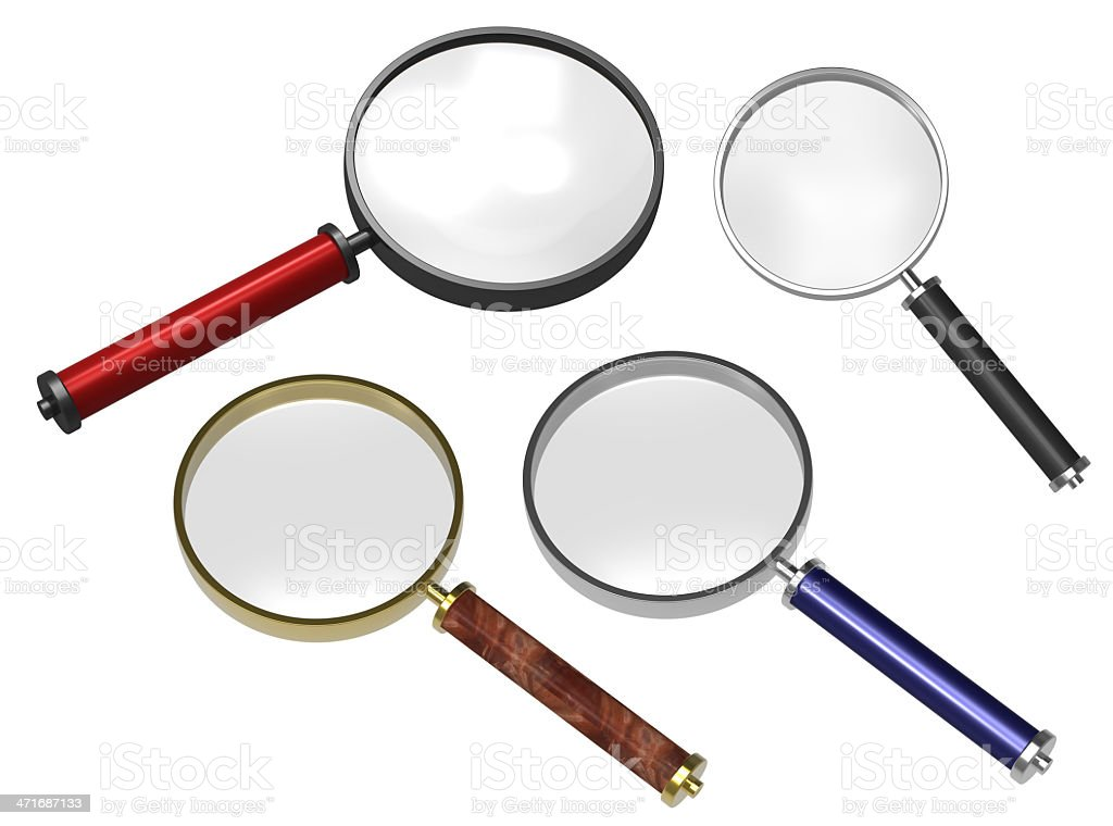 Set of magnifiers isolated on white. royalty-free stock photo