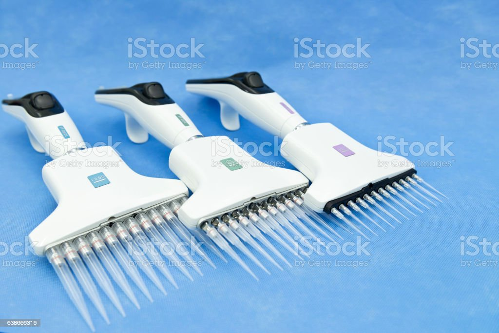 Set of major electronic multichannel pipette stock photo