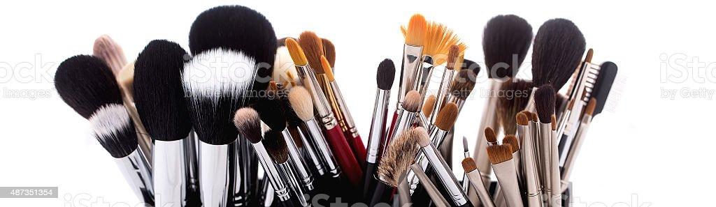 Set of make-up brushes stock photo