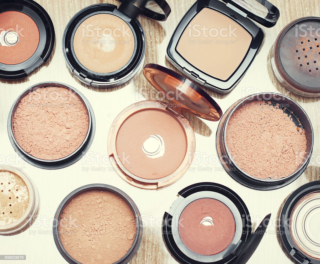 Set of make-up  foundations products, different shades and textures. stock photo