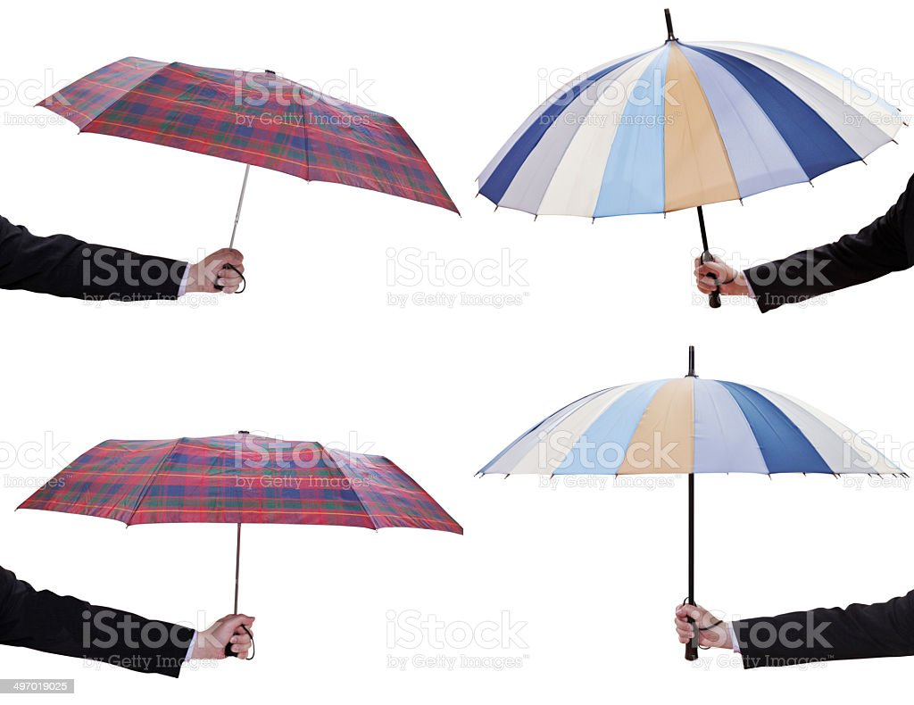 set of male hands with open telescopic umbrellas royalty-free stock photo
