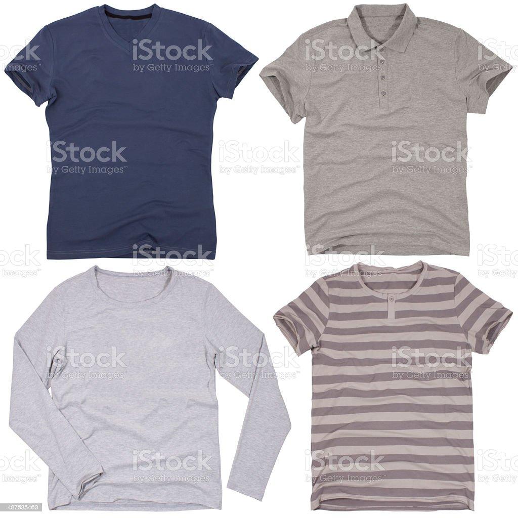 Set of male shirts. Isolated on white background stock photo