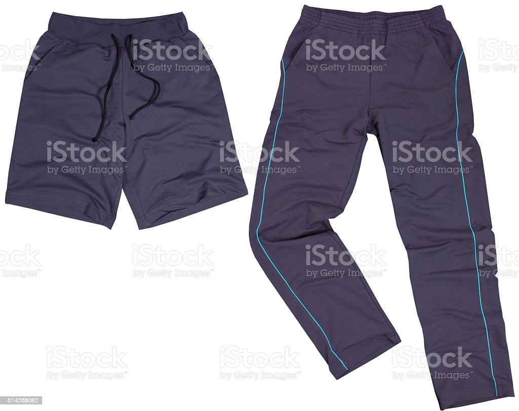 Set of male shorts and sweatpants. Isolated on white background stock photo