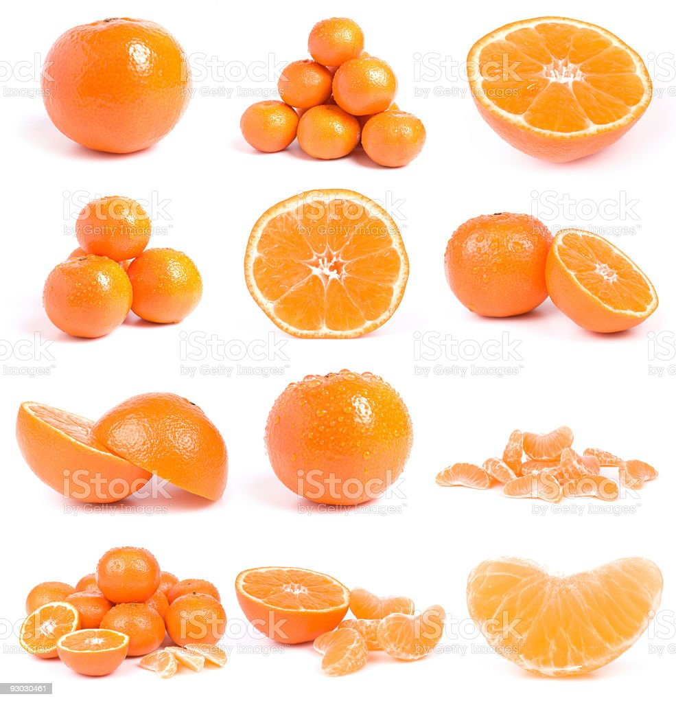 set of mandarines stock photo