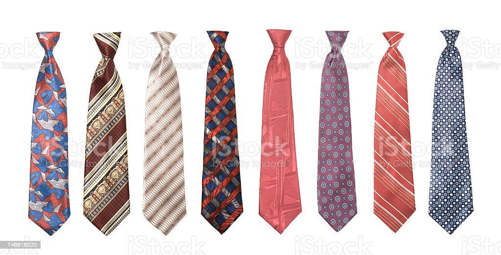 Set of man's ties isolated stock photo