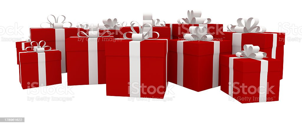 Set of many red gift boxes with white ribbons royalty-free stock photo