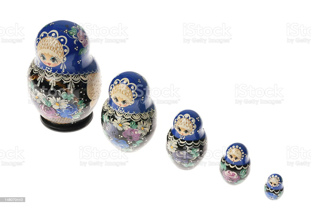 Set of matryoshka dolls isolated on white stock photo