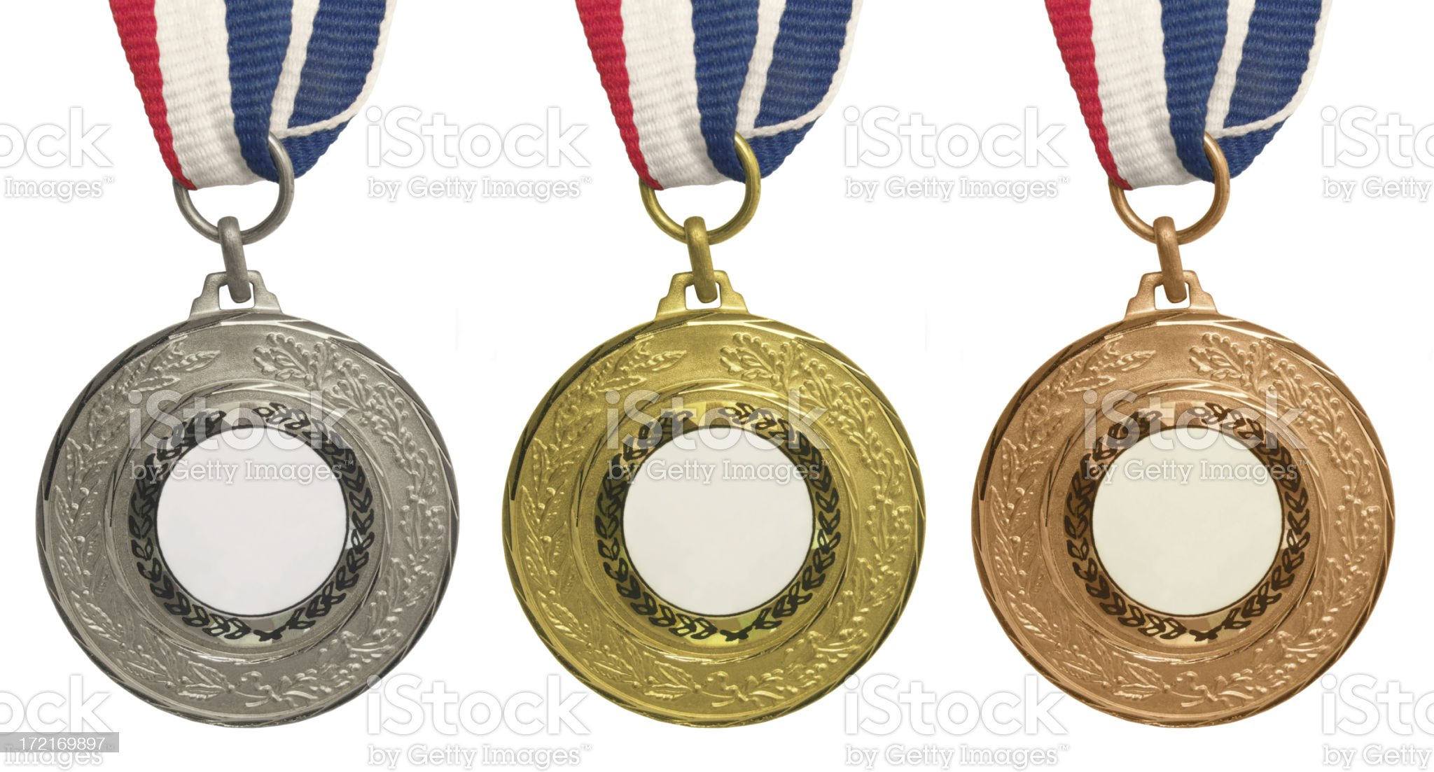 Set of medals – Gold, Silver and Bronze royalty-free stock photo