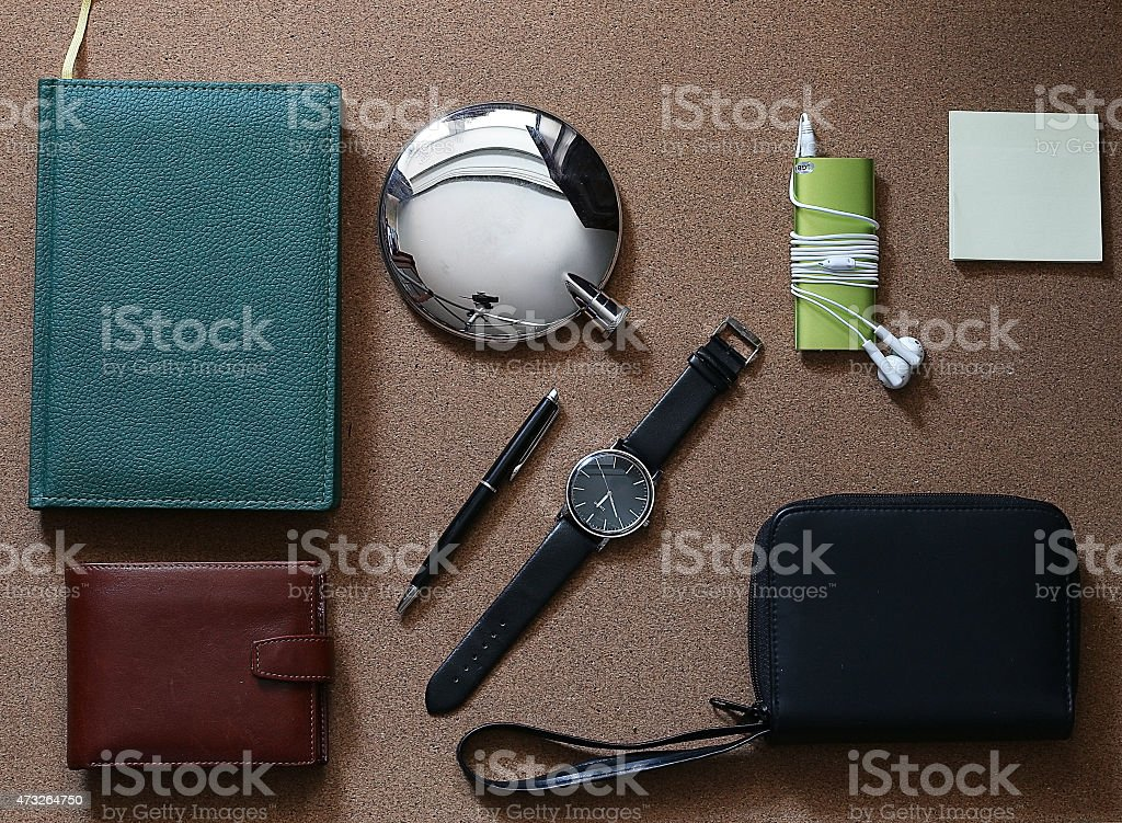 set of men diary wallet watches stock photo
