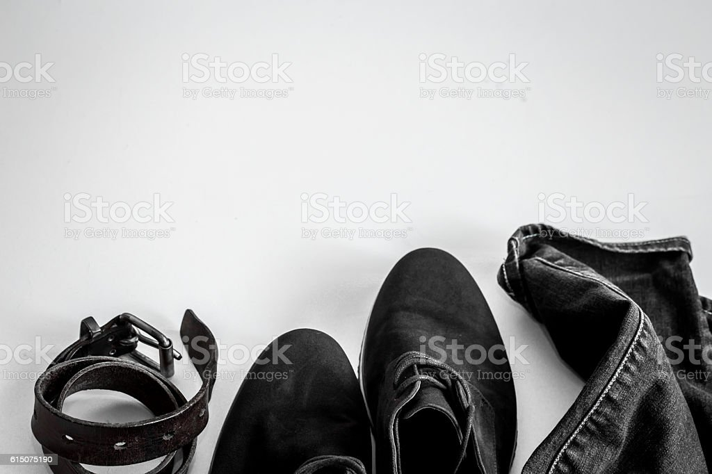 Set of men's clothes on white background stock photo