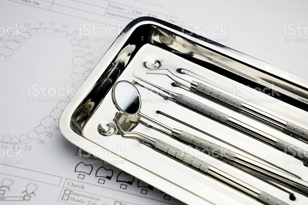 Set of metal Dentist 's medical dental equipment tools stock photo
