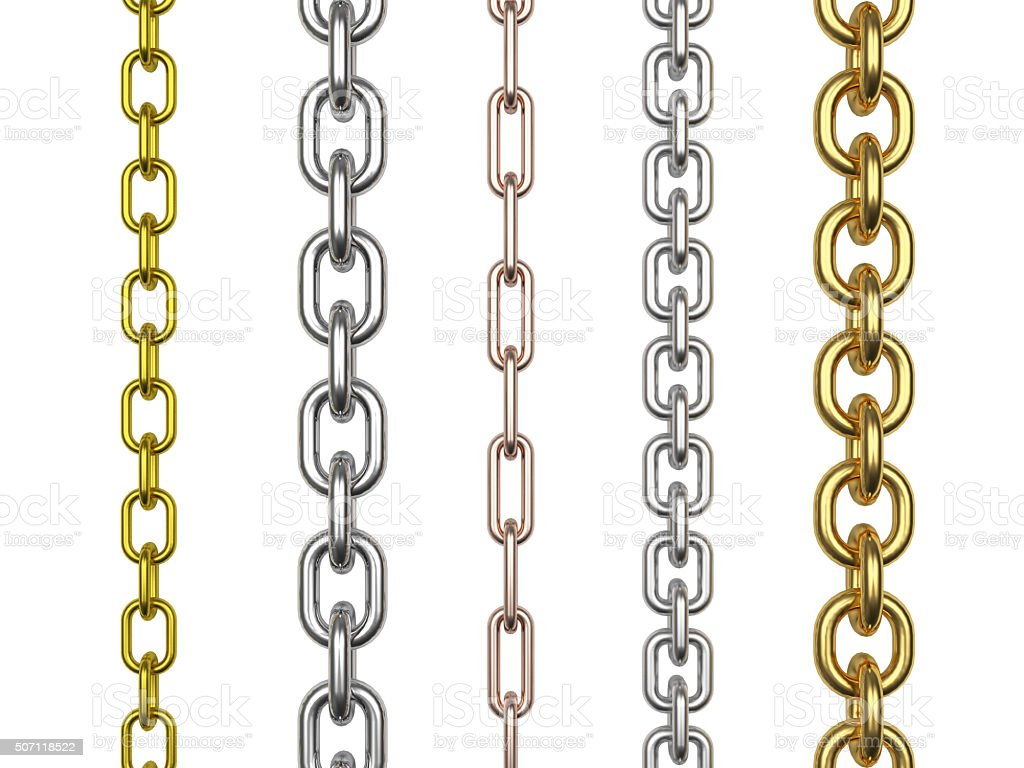 Set of metal, silver and golden chains stock photo