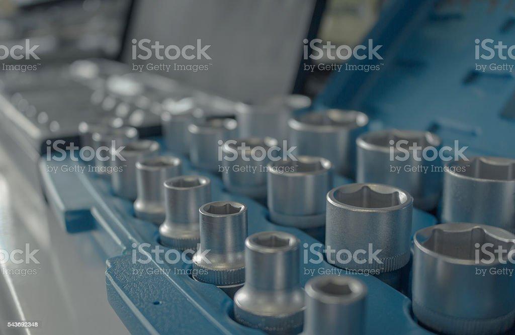 Set of metal sockets stock photo