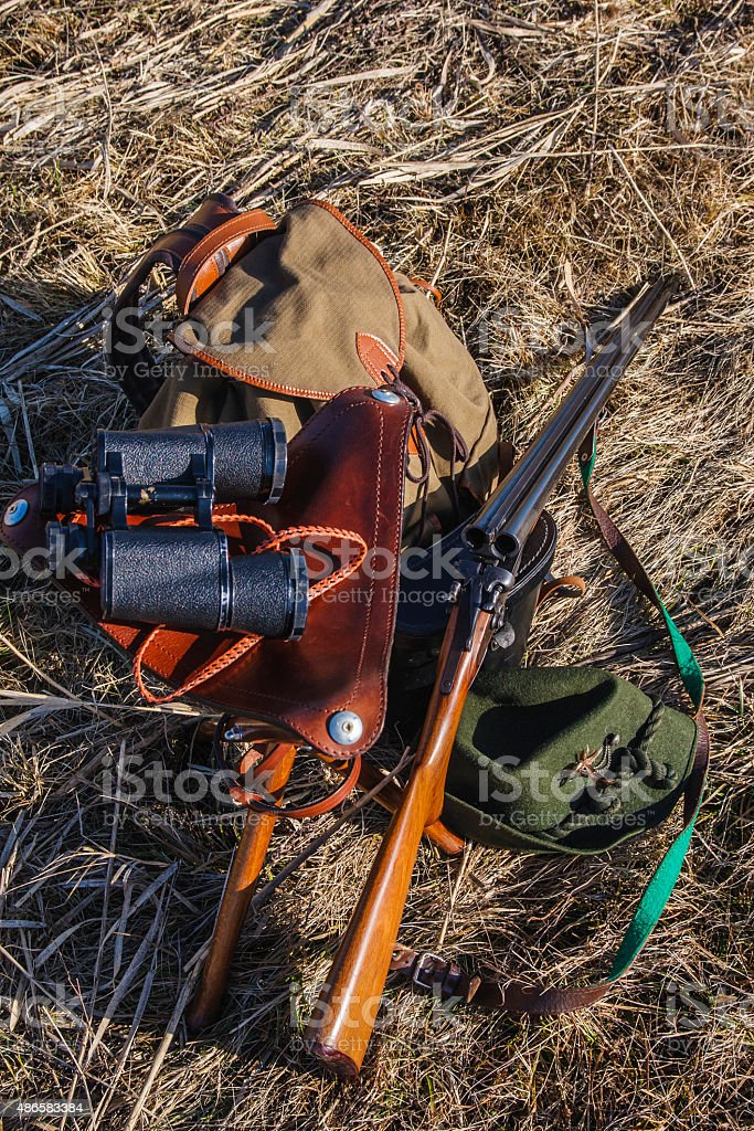 Set of military hunting equipment with rifle stock photo