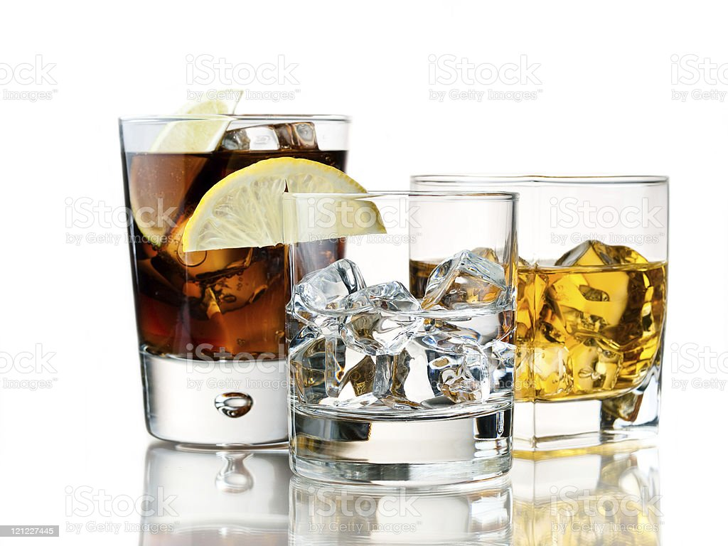 Set of mixed cocktail drinks in glasses royalty-free stock photo