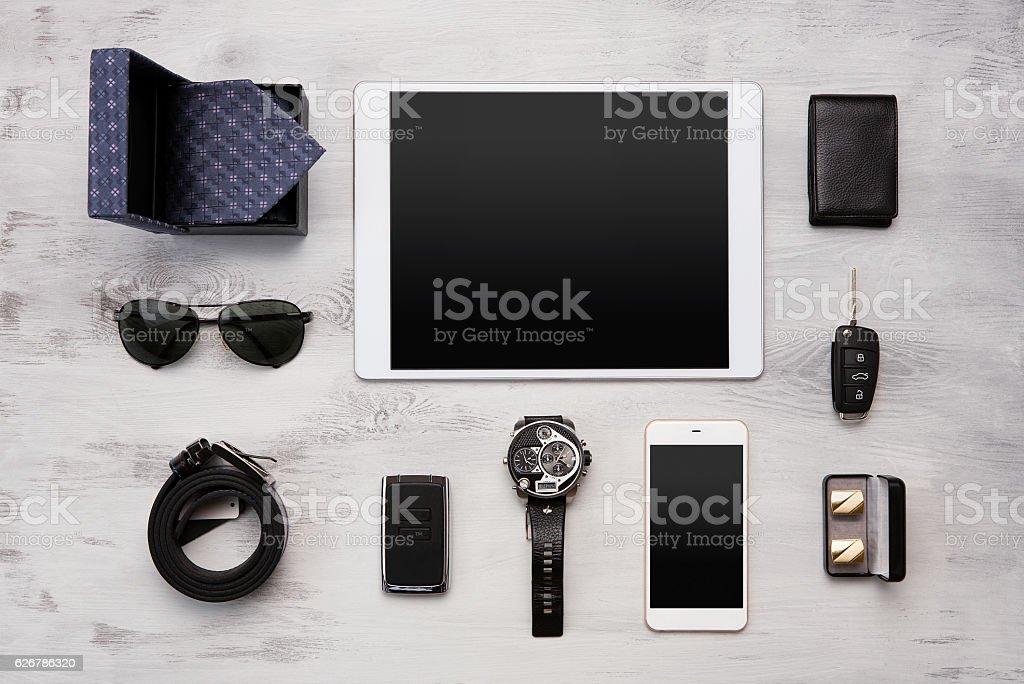 Set of modern businessmen accessories stock photo