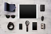 Set of modern businessmen accessories