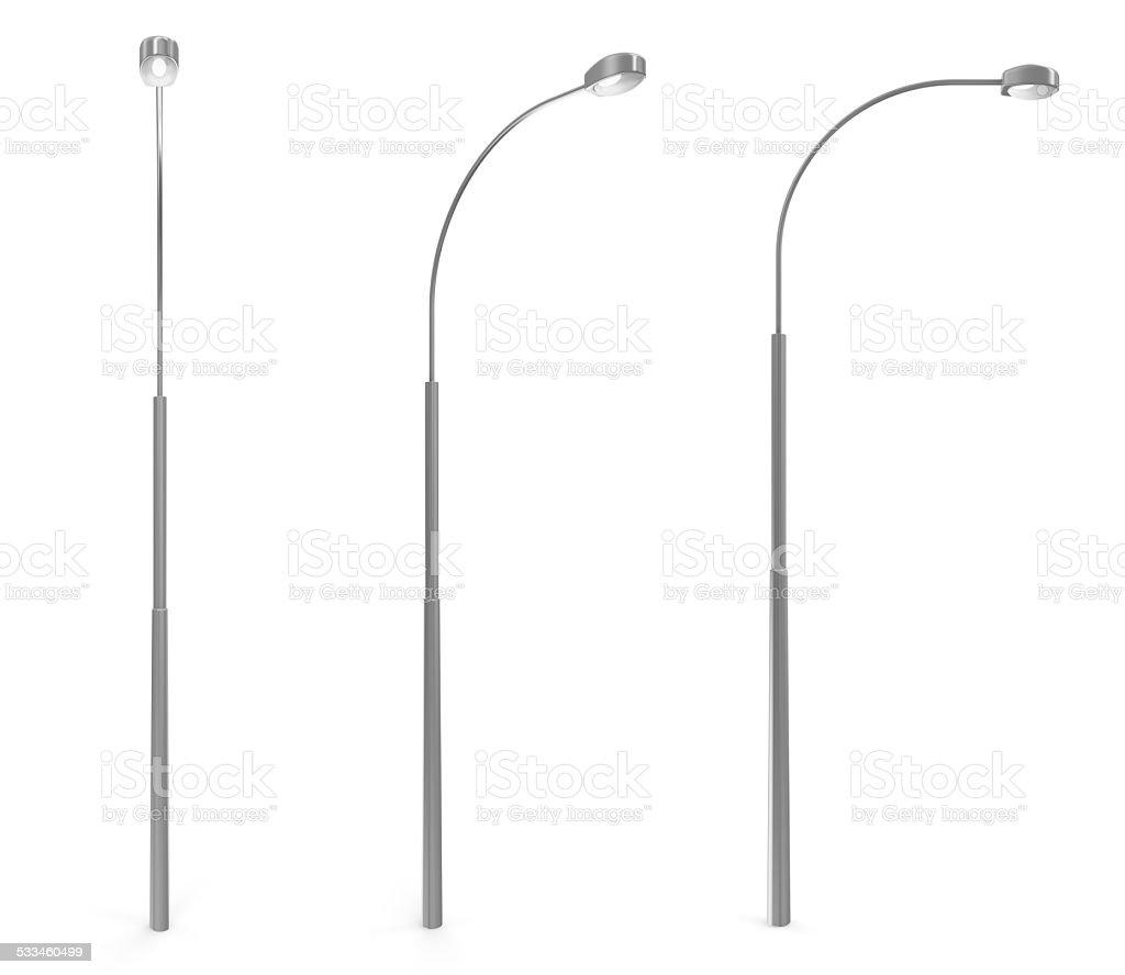 Set of Modern Street Lamp isolated on white background stock photo