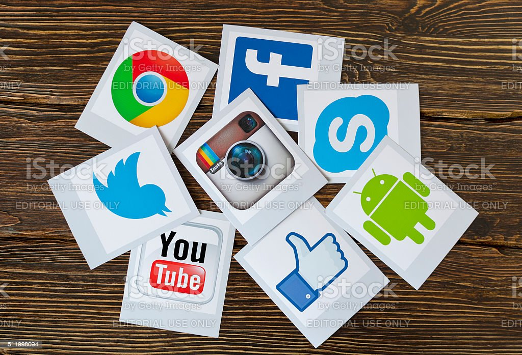Set of most popular social media icons stock photo