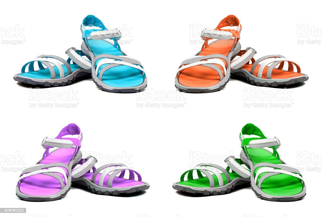 Set of multicolor summer sandals stock photo