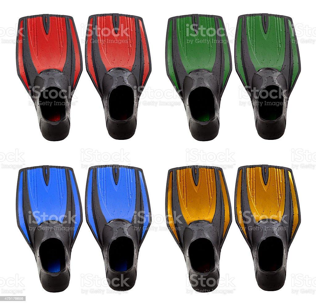 Set of multicolored swim fins stock photo