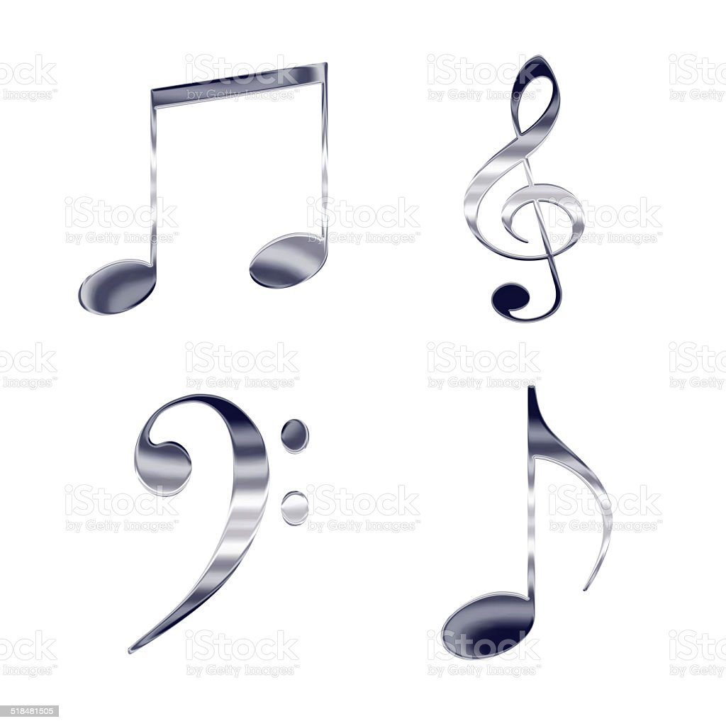 Set of music notes and symbols silver metal icons vector art illustration