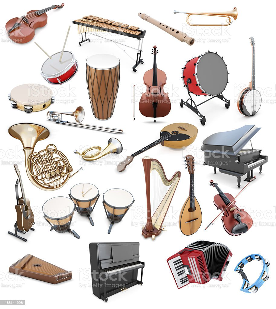 Set of musical instruments on a white background stock photo