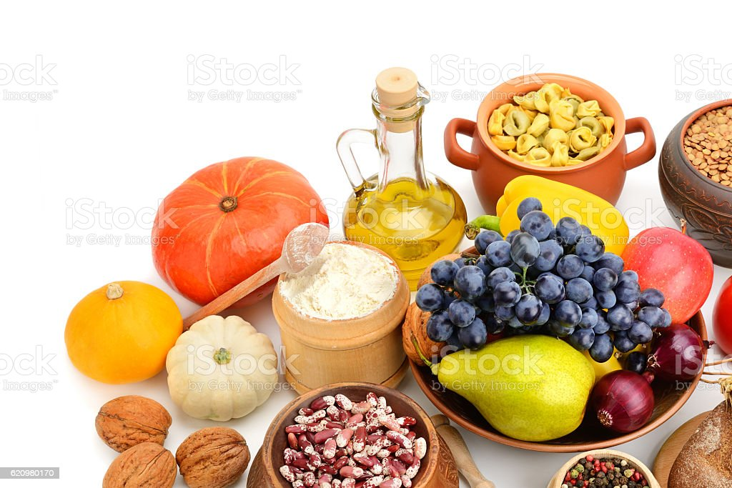 set of natural products  on white background stock photo