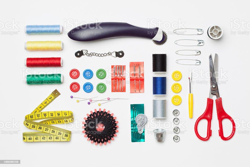 Set of needlework tools isolated on white background stock photo