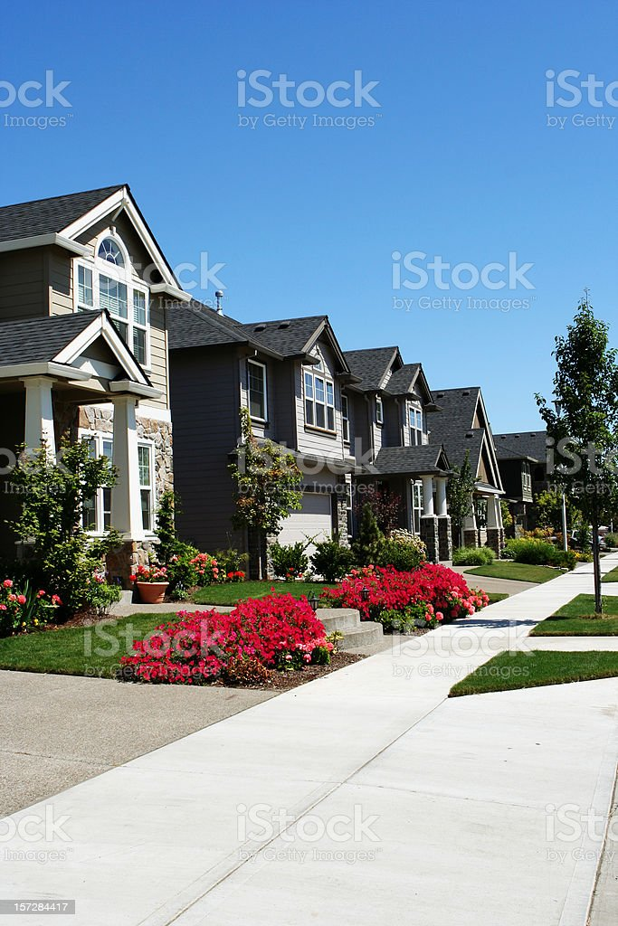 Set of Neighborhood Homes stock photo