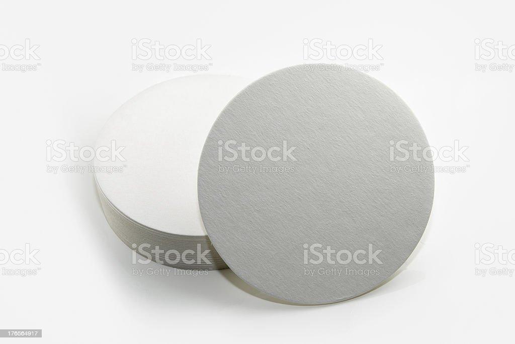 Set of new round paper coasters stock photo